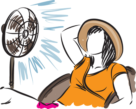 woman with a fan vector illustration