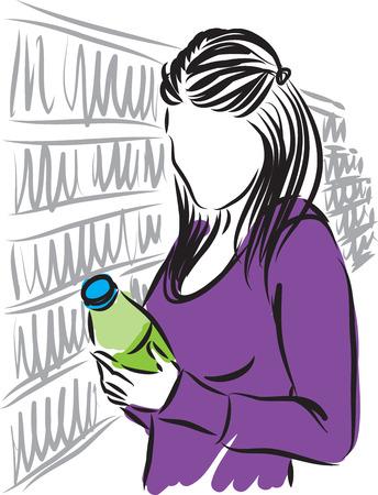 mujer en el supermercado: Mujer en la ilustración de supermercado