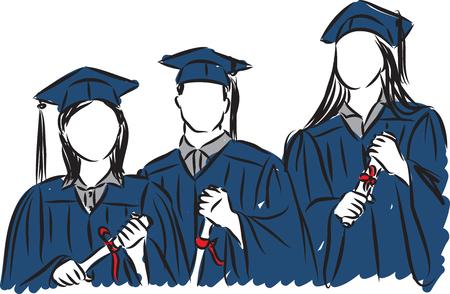 Personas estudiantes graduados ilustración