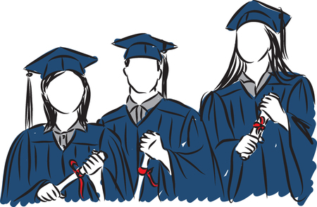 Personas estudiantes graduados ilustración Ilustración de vector