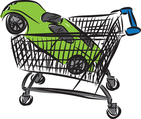 pushcart: Car buying concept illustration.
