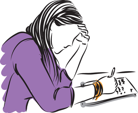 Woman in violet writing. Illustration