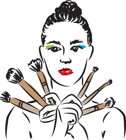 woman make up and brushes illustration Illustration