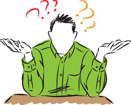 Man doing why gesture vector illustration Illusztráció