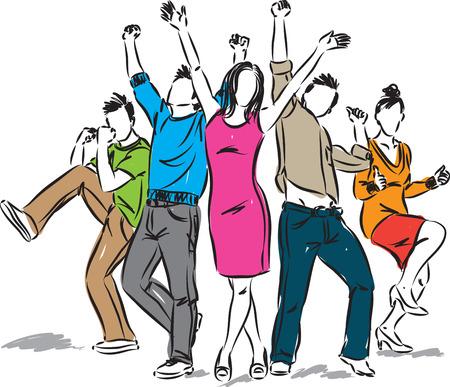 人々 の図の肯定的な幸せなグループ  イラスト・ベクター素材