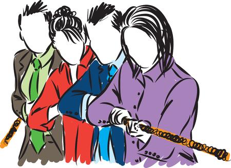 Business people team pulling rope illustration Illustration