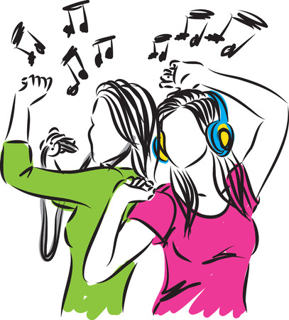 listening to music: Women listening music and dancing illustration