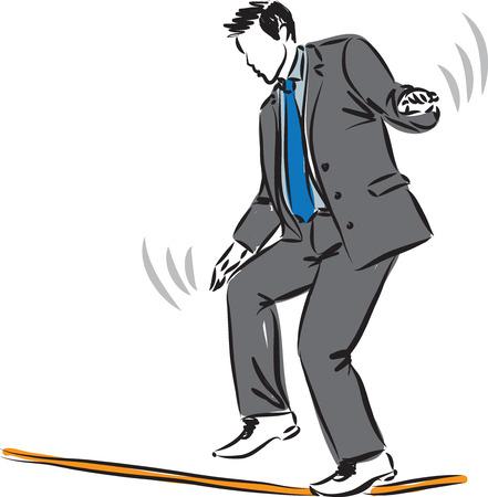 terrified: BUSINESSMAN TAKING RISKS CONCEPT ILLUSTRATION