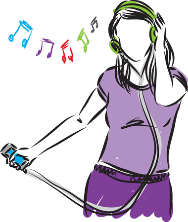 woman girl: woman girl with phone listening music illustration