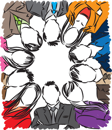 working together: Group of business people illustration