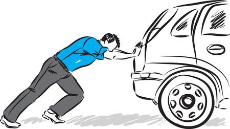 Hombre que empuja la ilustración del vector del coche Ilustración de vector
