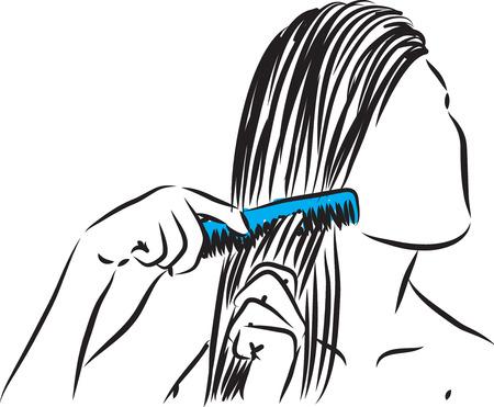 Girl combing her hair illustration