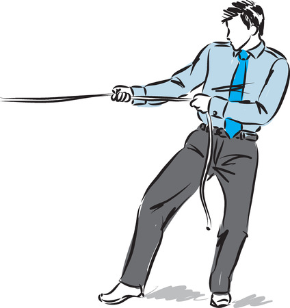 business man pulling a rope vector illustration