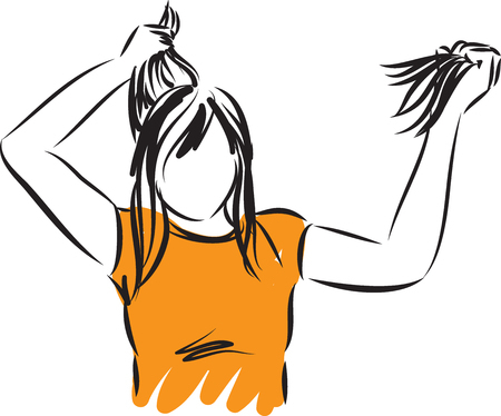 woman pulled out hair vector illustration Vectores