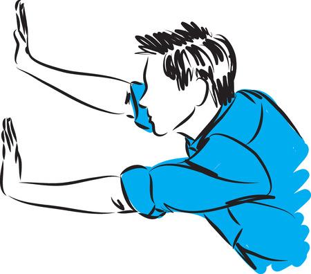 man pushing gesture vector illustration