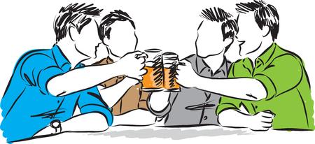 Group of men friend drinking beer illustration