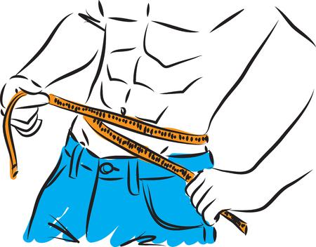 fitness man losing weight illustration