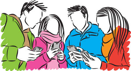woman cellphone: group of people with cellphones illustration