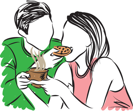 pareja comiendo: man and woman together illustration Vectores