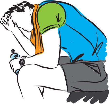 exhausted: tired fitness man with bottle of water illustration