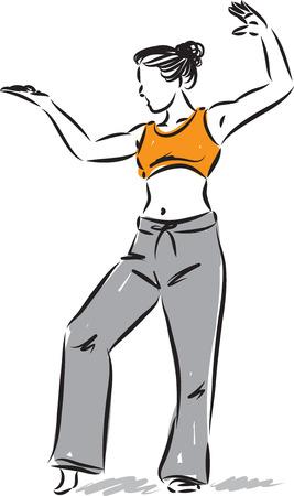 Fitness woman posture vector illustration