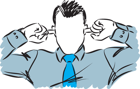 businessman no listening concept illustration