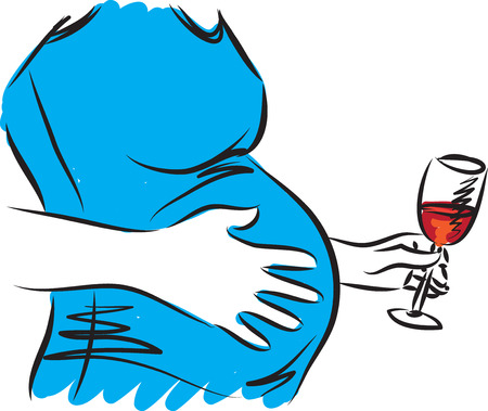 Mujer embarazada ilustración de beber vino Foto de archivo - 73053472