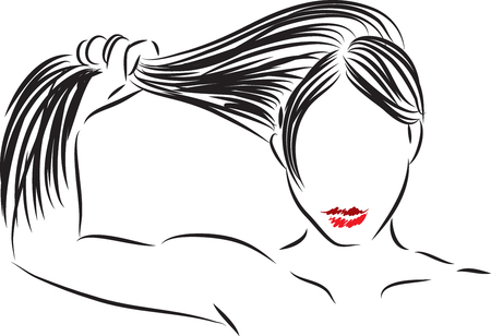 woman showing strong hair vector illustration
