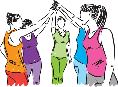 fitness women team illustration