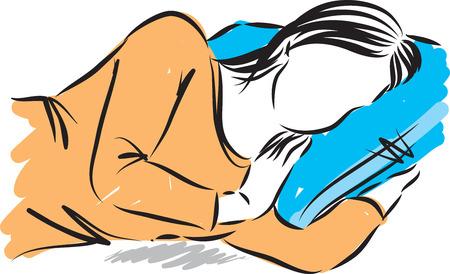 woman sleeping vector illustration