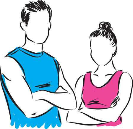 royalty free photo: fitness couple man and woman vector illustration