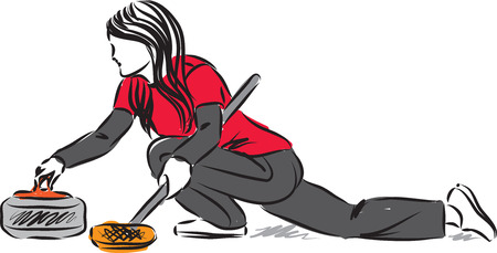 Curling woman player vector illustration Vettoriali