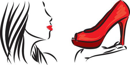 femme dessin: CHAUSSURES LOVER SHOPPING FEMME ILLUSTRATION