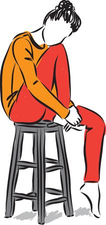 mujer modelado sentado ilustración vectorial Vectores