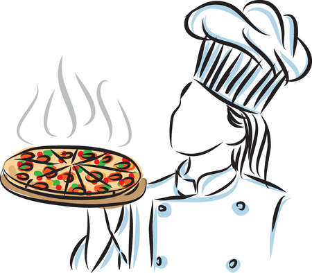 피자 일러스트와 함께 여자 요리사 요리사