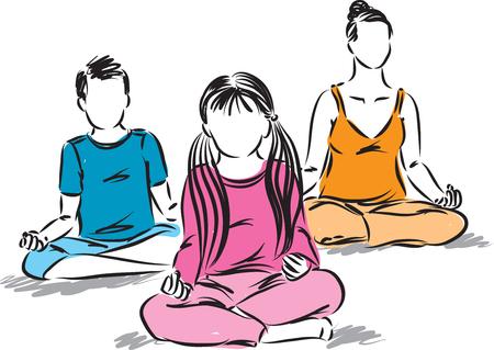 family yoga vector illustration