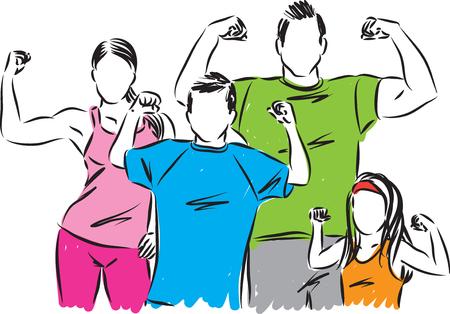 Fuerte ilustración vectorial de la familia