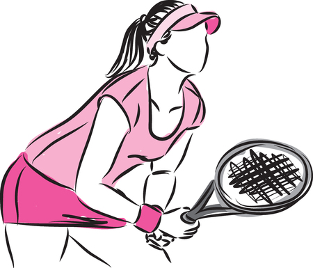 WOMAN TENNIS PLAYER VECTOR ILLUSTRATION Ilustração
