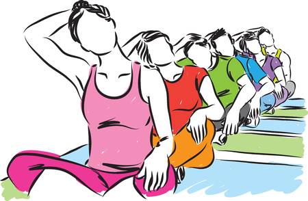 GROUP OF PEOPLE YOGA STRETCHING ILLUSTRATION
