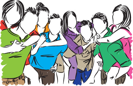 Illustration vectorielle de groupe d'amis