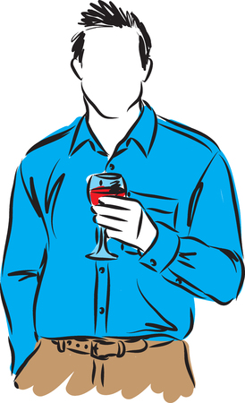 wineglass: A man with a cup of wine illustration