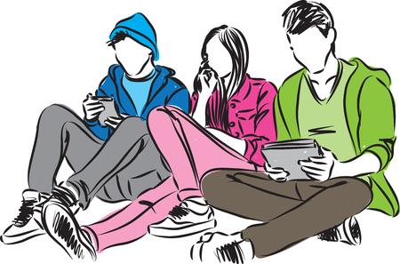 携帯電話とタブレットのイラストと青少年  イラスト・ベクター素材