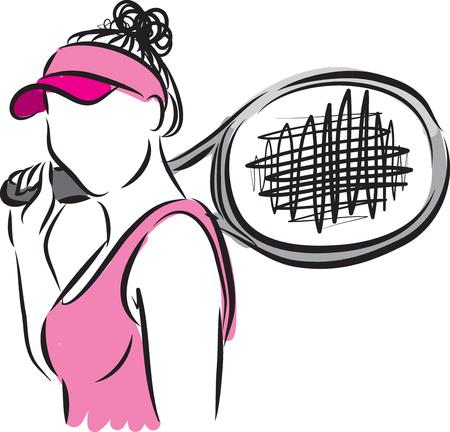 테니스 선수 여자 벡터 일러스트 레이션