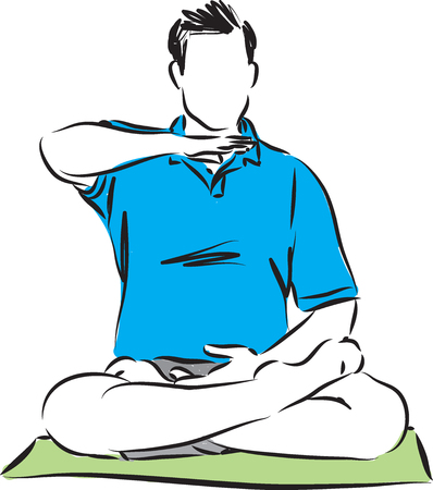 meditation man: man fitness meditation vector illustration