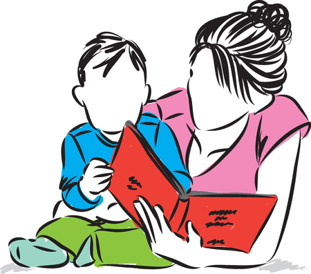two child: Mother with baby reading book illustration