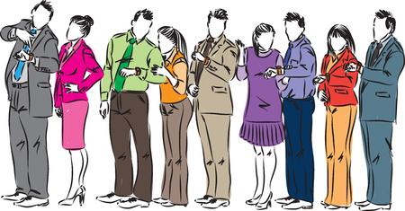 fila de personas: Business people waiting in line vector illustration Vectores