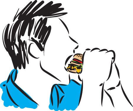 man eating sandwich vector illustration