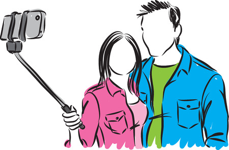 man and woman taking a photo vector illustration