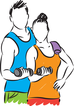 royalty free: FITNESS COUPLE MAN AND WOMAN ILLUSTRATION Illustration
