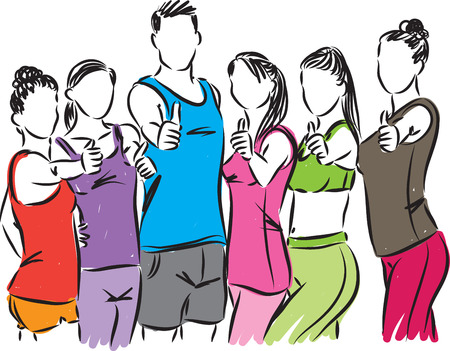 Fitness people at gym vector illustration